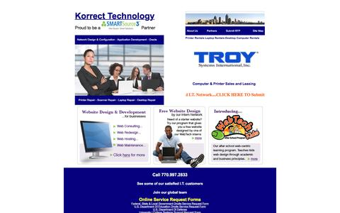 Screenshot of Home Page korrecttech.com - Korrect Technology Computer Printer Servers Repair Sales Rentals -ATLANTA GA PRINTER REPAIR ATLANTA GEORGIA COMPUTER REPAIR - captured Feb. 12, 2016