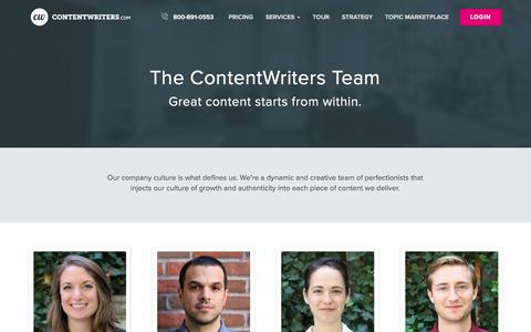 Screenshot of Team Page contentwriters.com - The ContentWriters Team - captured Sept. 19, 2018