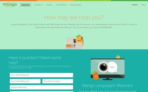 Screenshot of Support Page mangolanguages.com - Mango Languages support - captured Oct. 29, 2014