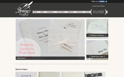 Screenshot of Home Page breezeinvitations.com.au - Wedding Invitations Online Shop | Wide Range | Breeze Invitations - captured Sept. 25, 2014
