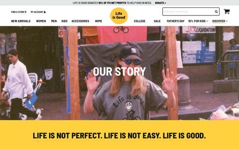 Screenshot of About Page lifeisgood.com - Company - Life is good - captured June 12, 2018