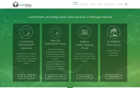 Screenshot of Home Page lucidview.net - Network and Intelligent Cyber Security Analysis   LucidView - captured Nov. 5, 2018