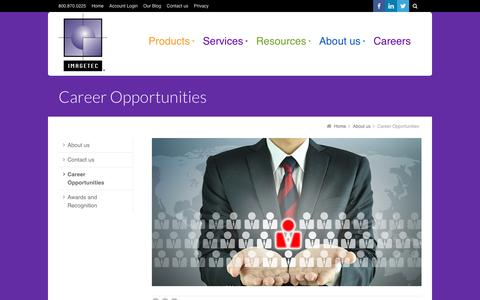 Screenshot of Jobs Page imagetec.com - Career Opportunities - Chicago Area Print Management & Document Management Company - captured Oct. 9, 2016