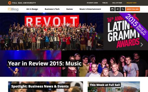 Screenshot of Home Page Blog fullsailblog.com - Full Sail University Blog - captured Jan. 16, 2016