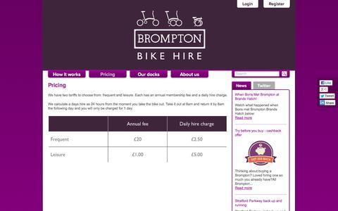Screenshot of Pricing Page bromptonbikehire.com - Pricing   Brompton Dock - captured Oct. 29, 2014