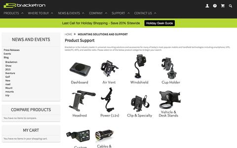 Screenshot of Support Page bracketron.com - Mounting Solutions And Support | Bracketron - captured Jan. 7, 2016