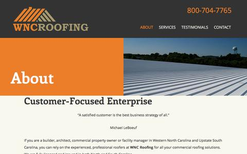 Screenshot of About Page wncroofing.com - About WNC Roofing | Roofing Companies in Asheville - captured Feb. 17, 2016