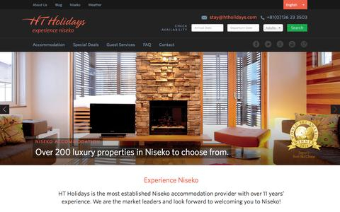 Screenshot of Home Page htholidays.com - Niseko Accommodation — HT Holidays - captured June 17, 2015
