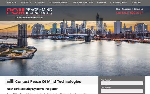 Screenshot of Contact Page pom-tec.com - New York City's Security Firm | Peace Of Mind Technologies - captured Dec. 7, 2015