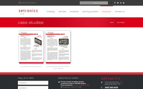 Screenshot of Case Studies Page setronics.com - case studies | Setronics - captured Nov. 5, 2014