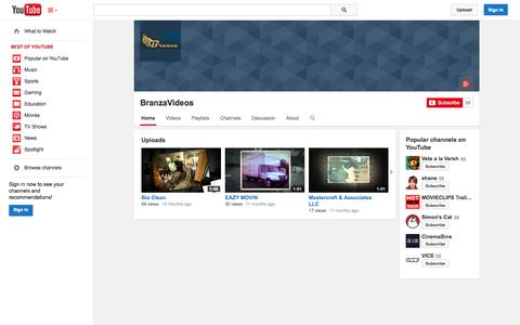 Screenshot of YouTube Page youtube.com - BranzaVideos  - YouTube - captured Oct. 23, 2014