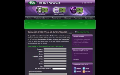 Screenshot of Trial Page tcstirepower.com - Download a Trial Version — Tire Power by TCS – Tire Software – Auto Repair Shop Software. - captured March 10, 2016