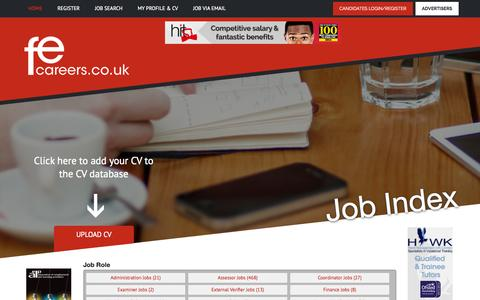 Screenshot of Site Map Page fecareers.co.uk - FE Careers - NVQ Assessor and College Jobs search - captured Oct. 5, 2014