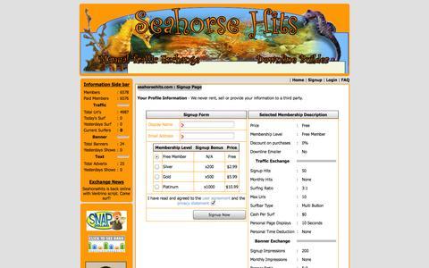 Screenshot of Signup Page seahorsehits.com - Seahorsehits Marketing Exchange | Ventrino Software LLC - captured Nov. 2, 2014
