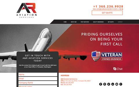 Screenshot of Contact Page aravservices.com - A&R Aviation Services | CONTACT - captured Nov. 17, 2016