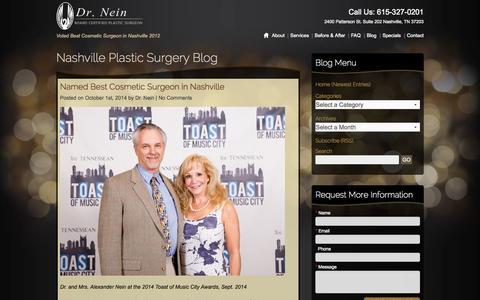 Screenshot of Blog drnein.com - Nasville Plastic Surgery Blog - captured Oct. 4, 2014