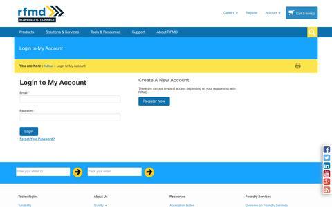 Screenshot of Support Page rfmd.com - Customer Login - captured Sept. 23, 2014