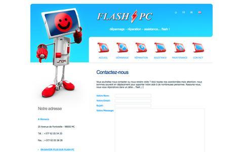 Screenshot of Contact Page flash-pc.com - Flash PC | Contactez-nous - captured Sept. 30, 2014