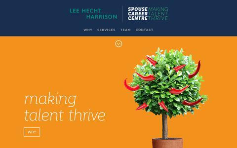Screenshot of Home Page spousecareercentre.com - Spouse Career Centre | Making Talent Thrive - captured Nov. 7, 2018