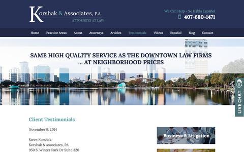Screenshot of Testimonials Page korshaklaw.com - Testimonials | Korshak & Associates, P.A. | Orlando - captured Oct. 16, 2018