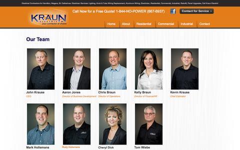Screenshot of Team Page kraun.ca - Our Team   Kraun Electric - captured Oct. 6, 2014