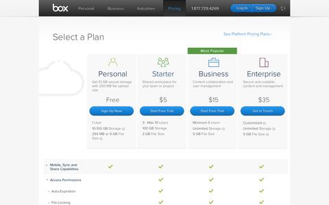 Screenshot of Pricing Page box.com - Secure File Sharing Plans and Pricing | Box - captured Sept. 13, 2014