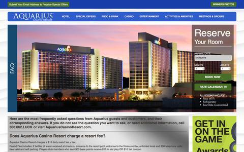 Screenshot of FAQ Page aquariuscasinoresort.com - Frequently Asked Questions - The Aquarius Casino Resort - FAQ - captured July 30, 2018