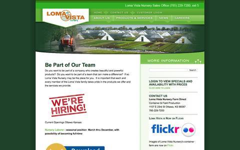 Screenshot of Jobs Page lomavistanursery.com - Loma Vista Nursery Careers - captured July 22, 2018