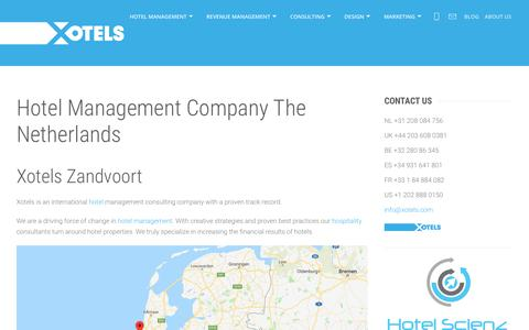 Screenshot of Locations Page xotels.com - The Netherlands Hotel & Hospitality Management Consulting Company | Xotels Zandvoort - captured Sept. 7, 2019
