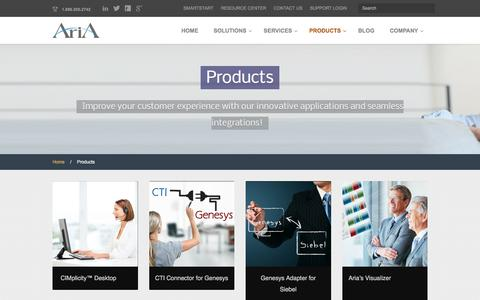 Screenshot of Products Page ariasolutions.com - Contact Center Products and Integrations - captured July 26, 2016