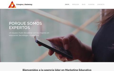Screenshot of Home Page colegiosymarketing.com - Inicio - Colegios y Marketing - captured Sept. 28, 2018
