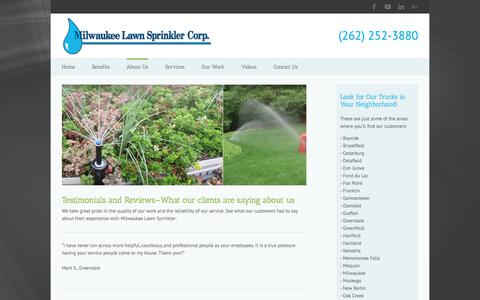 Screenshot of Testimonials Page milwaukeelawnsprinkler.com - Client Reviews   Menomonee Falls, WI   Milwaukee Lawn Sprinkler - captured Nov. 14, 2017
