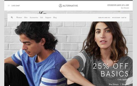 Screenshot of Home Page alternativeapparel.com - Apparel Basics | Soft Simple Sustainable  | Alternative - captured Oct. 2, 2015