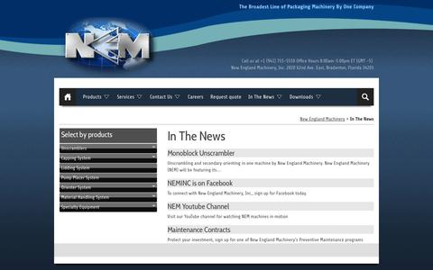 Screenshot of Press Page neminc.com - New England Machinery :: In The News - captured Oct. 26, 2014