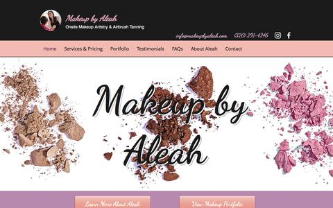 Screenshot of Home Page makeupbyaleah.com - Airbrush Makeup & Tanning | Minneapolis, MN | Makeup by Aleah - captured Oct. 31, 2019