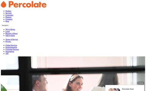 Screenshot of Services Page percolate.com - Global Services and Customer Success | Percolate - captured June 30, 2016