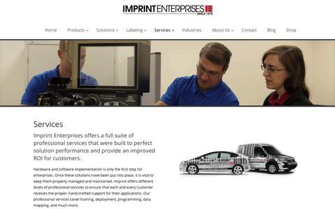 Screenshot of Services Page imprint-e.com - Services - Imprint Enterprises - captured Feb. 11, 2018