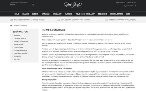 Screenshot of Terms Page gusjonesjewellers.co.uk - Terms & Conditions - captured Nov. 5, 2018