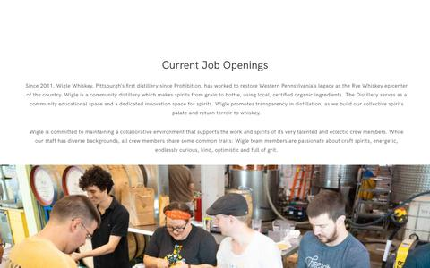 Screenshot of Jobs Page wiglewhiskey.com - jobs – Wigle Whiskey - captured Oct. 20, 2018