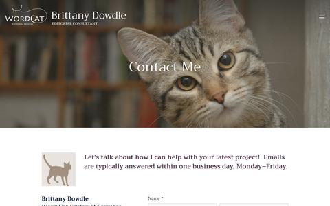 Screenshot of Contact Page wordcat-editorial.com - Word Cat Editorial Services Contact — Word Cat Editorial Services - captured Feb. 15, 2018