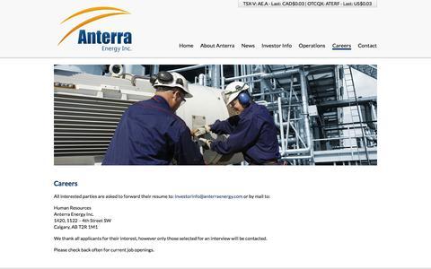 Screenshot of Jobs Page anterraenergy.com - Careers | Anterra Energy Inc - captured Sept. 13, 2014