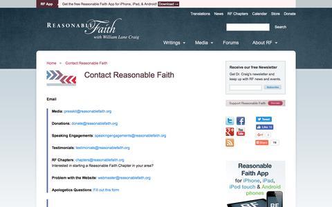 Screenshot of Contact Page reasonablefaith.org - Contact Reasonable Faith | Reasonable Faith - captured Aug. 18, 2016