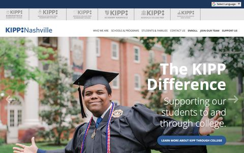 Screenshot of Home Page kippnashville.org - Home - KIPP Nashville - captured Sept. 20, 2018