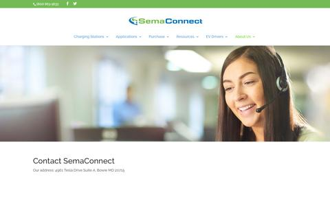 Screenshot of Contact Page semaconnect.com - Contact Us - Smart Electric Vehicle (EV) Charging Stations - captured Nov. 8, 2019