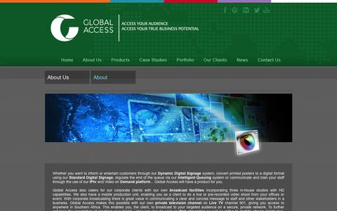 Screenshot of About Page globalaccess.co.za - About Us - captured Oct. 2, 2014
