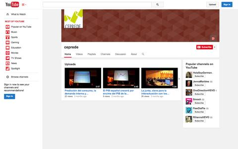 Screenshot of YouTube Page youtube.com - ceprede  - YouTube - captured Oct. 22, 2014