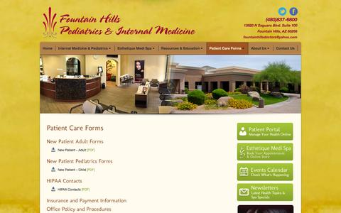 Screenshot of Privacy Page fountainhillsdoctors.com - Fountain Hills Pediatrics and Internal Medicine |   Patient Care Forms - captured Oct. 8, 2014