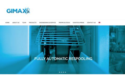Screenshot of Home Page gimaxgroup.com - Gimax Srl - Machinery for the Wire Industry - captured Sept. 19, 2014