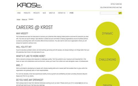 Screenshot of Jobs Page krost.com.au - Careers - Krost Business Furniture - captured Oct. 6, 2014
