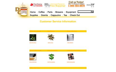 Screenshot of Support Page dccoffeeproducts.com - DC Coffee Products - Customer service self help guides. - DC Coffee Products - captured Sept. 30, 2014